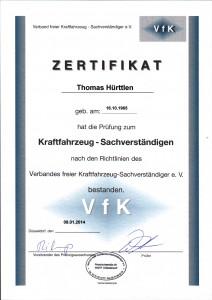 Zertifikat Kraftfahrzeug-Sachverständiger